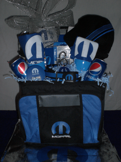 Sports-Enthusiast-Gift-Basket-Mopar-Special-complete-with-Mopar-Ball-Cap-unwrapped-version