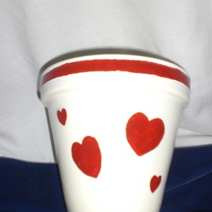 Can Can Red - Terra Cotta Pot painted for Valentine's Day